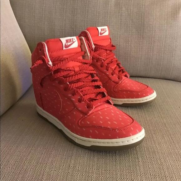 Nike Dunk Sky Hi Wedge Sneakers Red w White Specks.  M 5aff82ae8df470d390f44426 9cf0dcd33